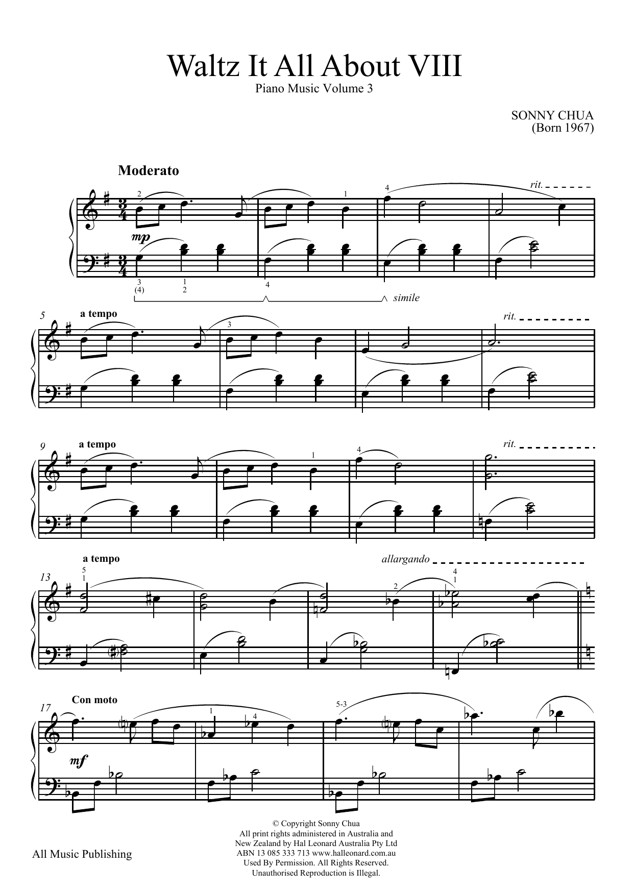 Sonny Chua Waltz It All About Viii (From Piano Music Vol 3) sheet music notes and chords