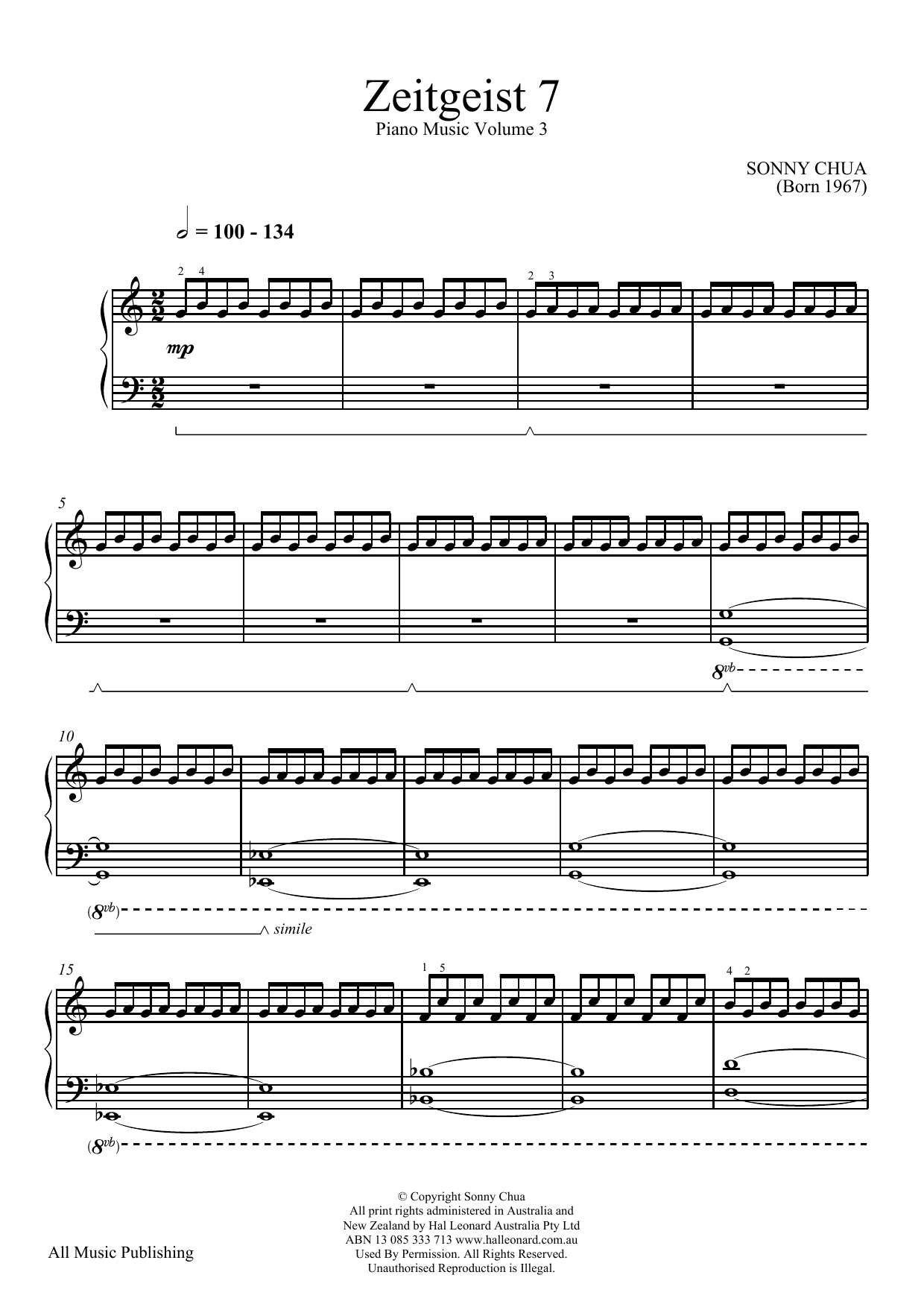 Sonny Chua Zeitgeist 7 (From Piano Music Vol 3) sheet music notes and chords. Download Printable PDF.