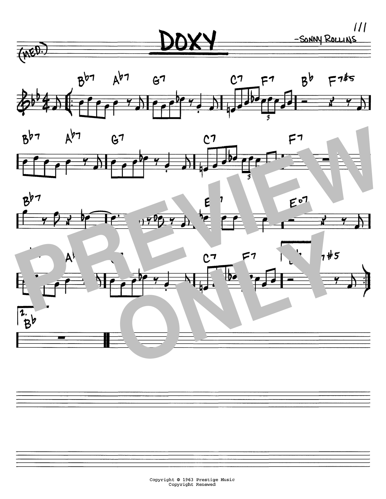 Sonny Rollins Doxy sheet music notes and chords. Download Printable PDF.