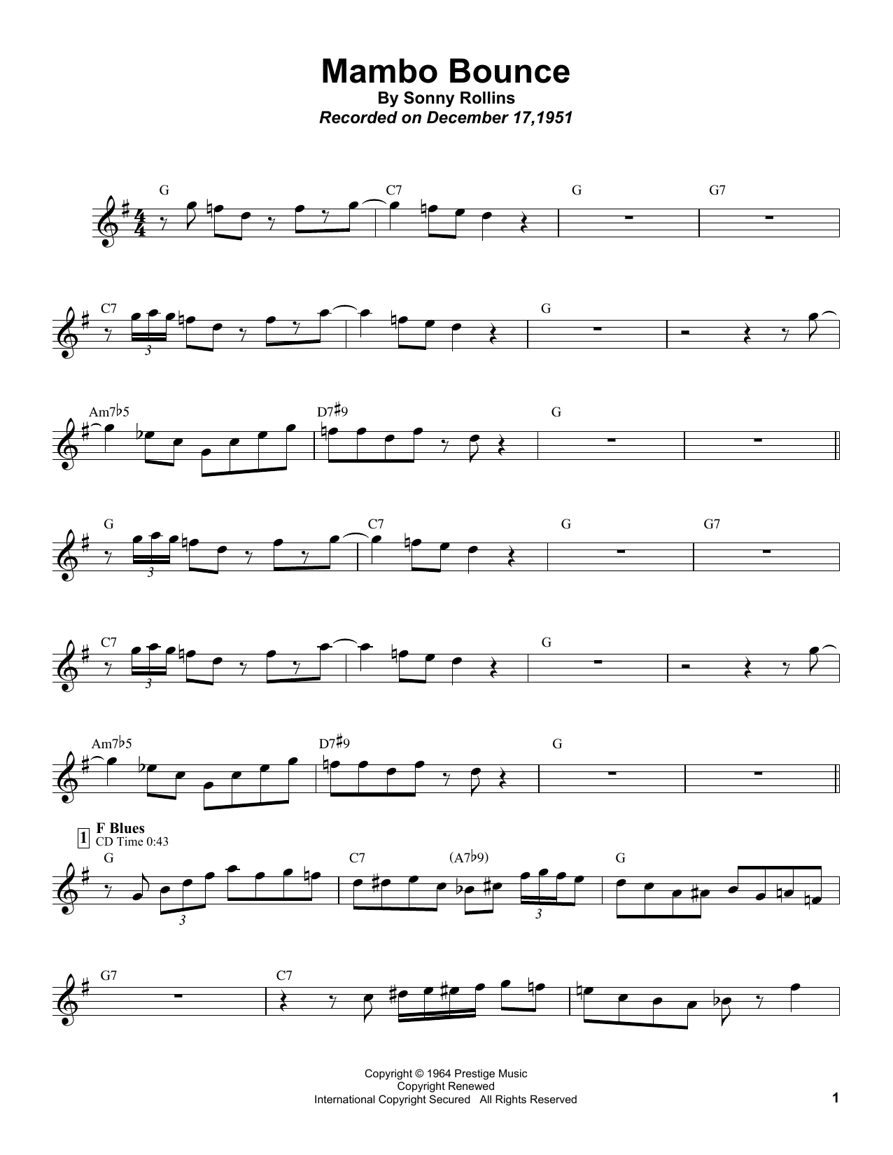 Sonny Rollins Mambo Bounce sheet music notes and chords