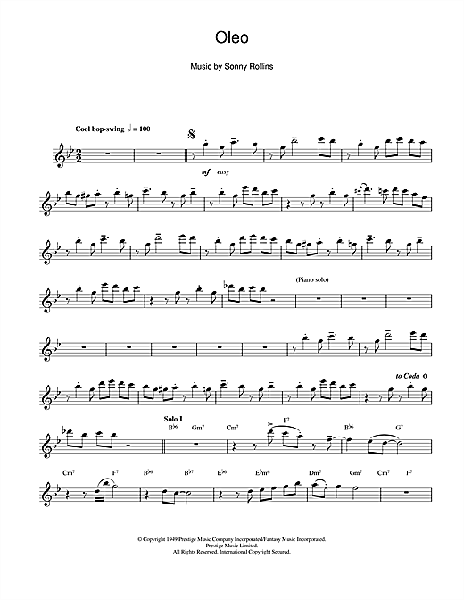 Sonny Rollins Oleo sheet music notes and chords. Download Printable PDF.