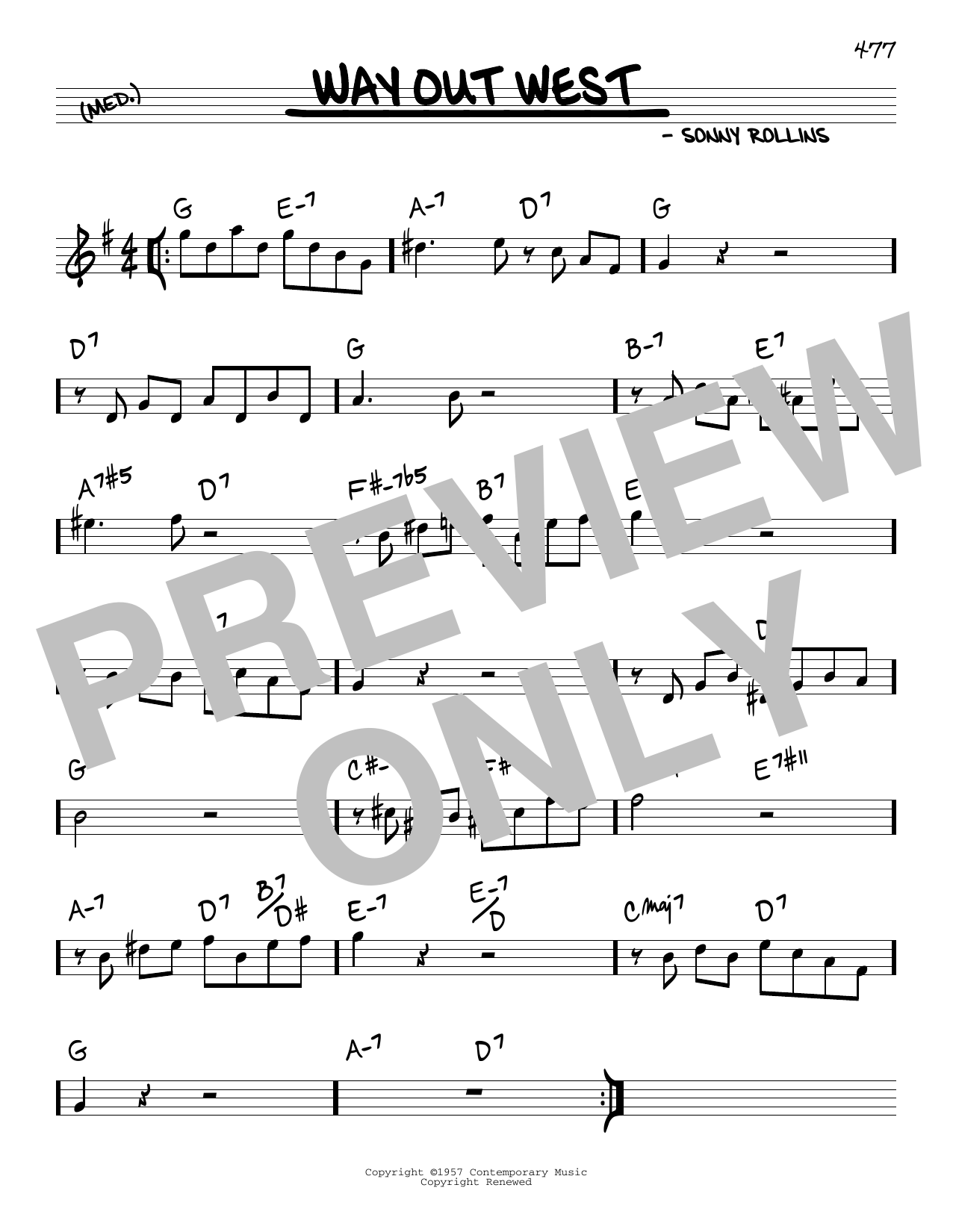 Sonny Rollins Way Out West sheet music notes and chords. Download Printable PDF.