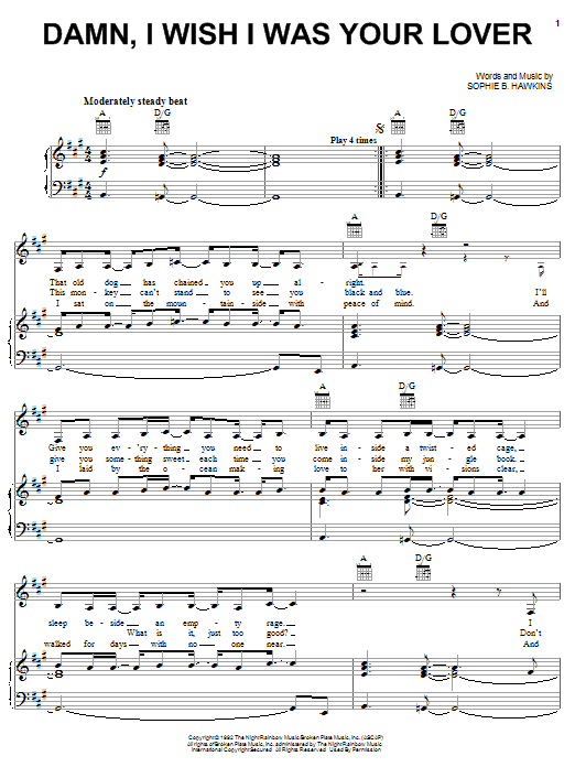 Sophie B. Hawkins Damn, I Wish I Was Your Lover sheet music notes and chords. Download Printable PDF.