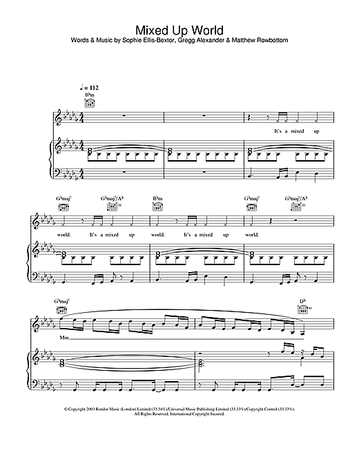 Sophie Ellis-Bextor Mixed Up World sheet music notes and chords. Download Printable PDF.
