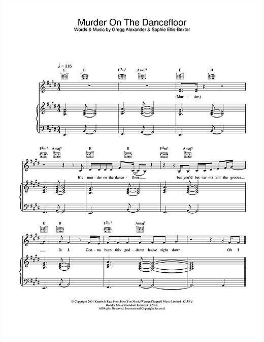 Sophie Ellis-Bextor Murder On The Dancefloor sheet music notes and chords
