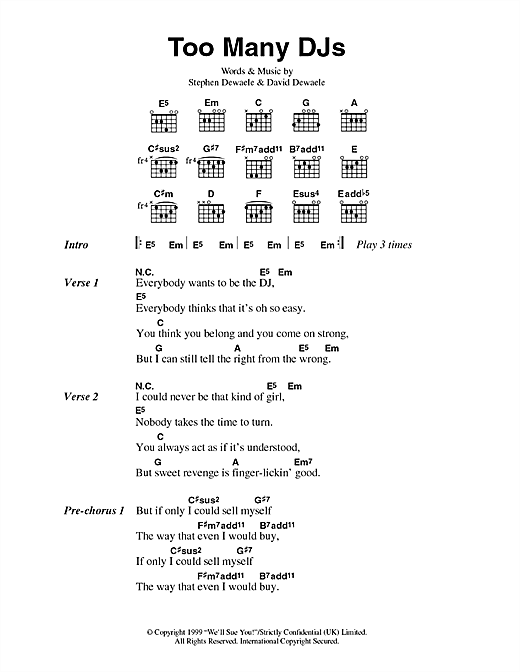 Soulwax Too Many DJs sheet music notes and chords. Download Printable PDF.