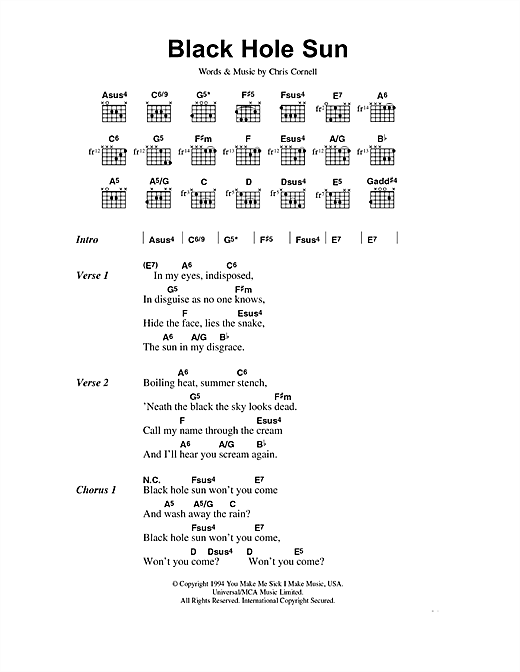 Soundgarden Black Hole Sun sheet music notes and chords