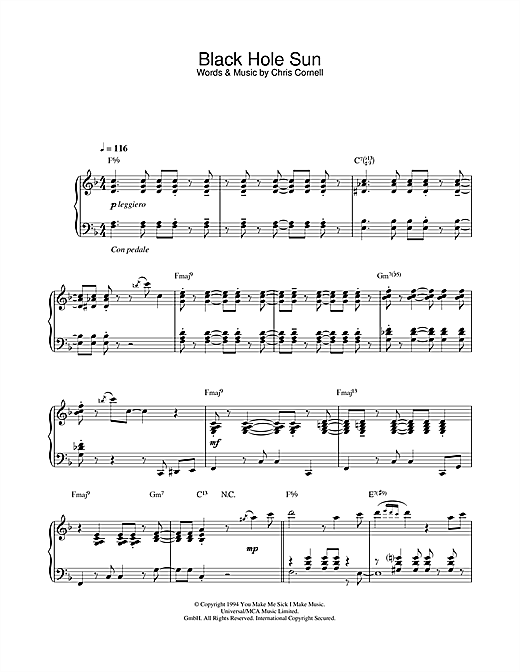 Soundgarden Black Hole Sun (jazz version) sheet music notes and chords