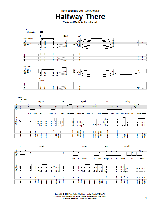 Soundgarden Halfway There sheet music notes and chords. Download Printable PDF.
