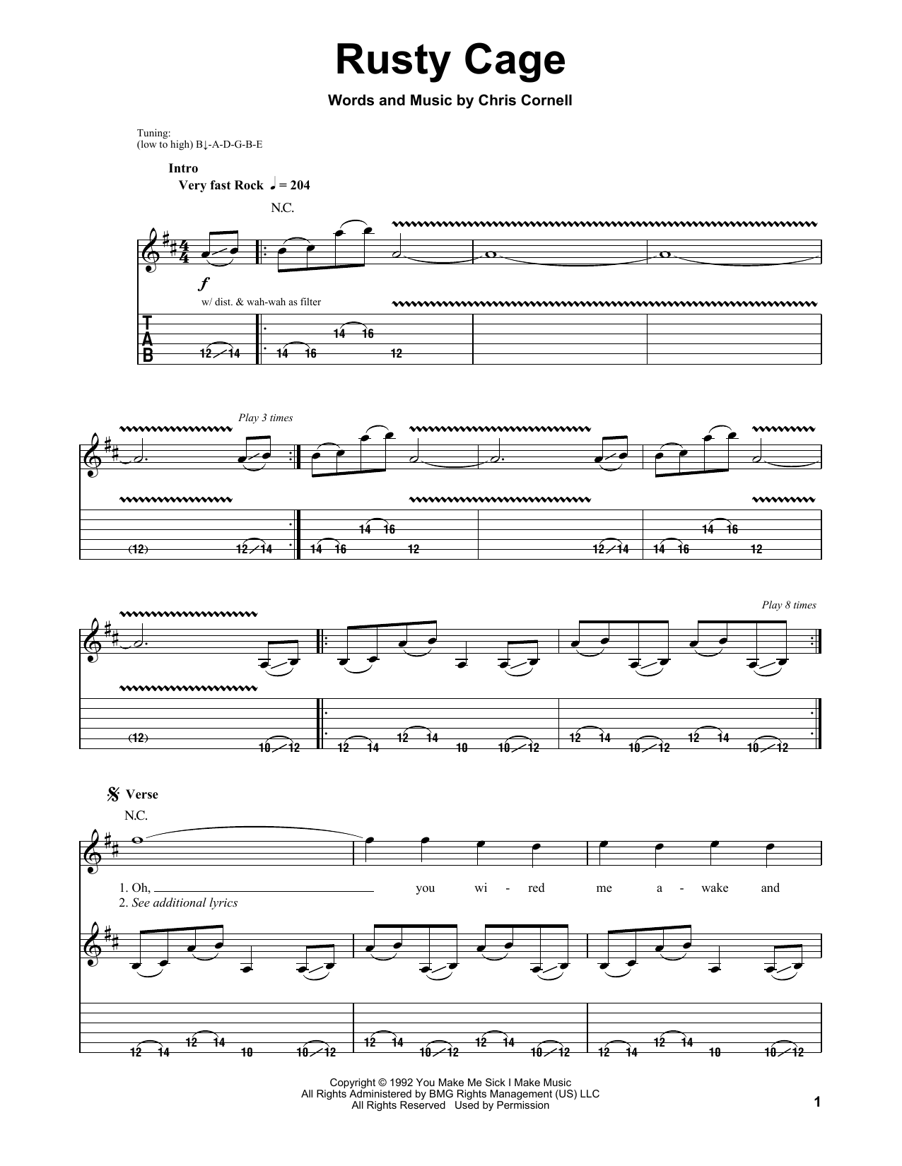 Soundgarden Rusty Cage sheet music notes and chords. Download Printable PDF.
