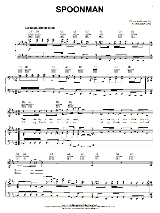 Soundgarden Spoonman sheet music notes and chords. Download Printable PDF.