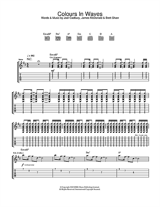 South Colours In Waves sheet music notes and chords. Download Printable PDF.