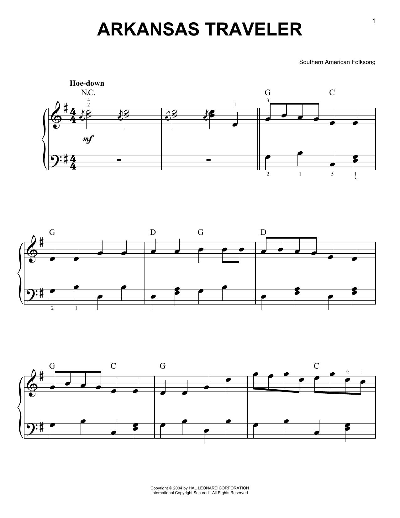 Southern American Folksong Arkansas Traveler sheet music notes and chords