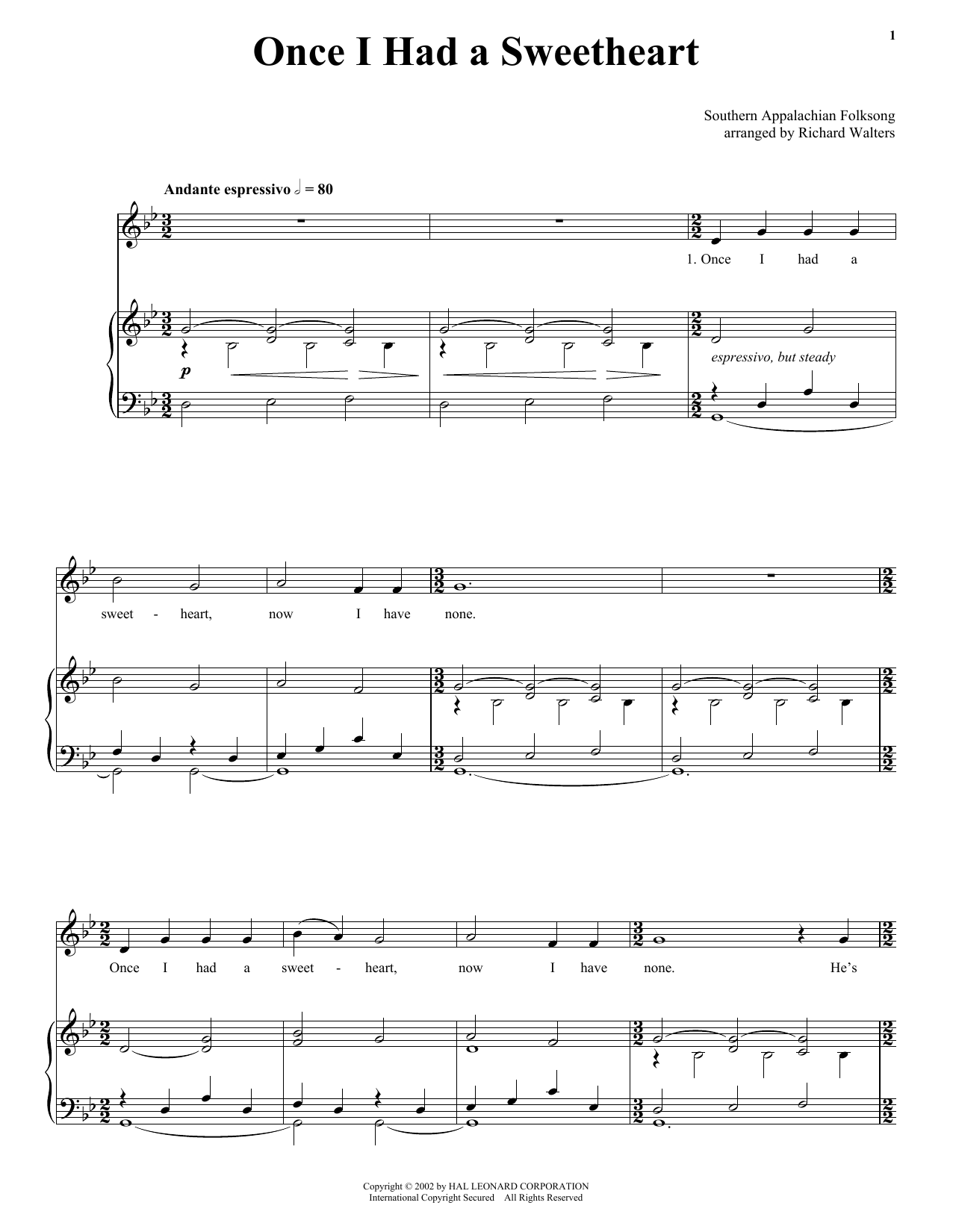 Southern Appalachian Folk Song Once I Had A Sweetheart sheet music notes and chords. Download Printable PDF.