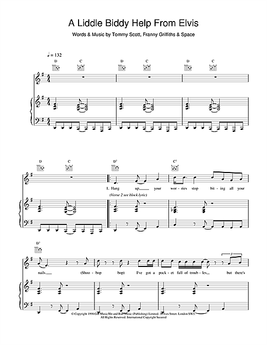 Space A Liddle Biddy Help From Elvis sheet music notes and chords
