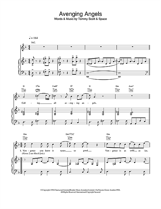 Space Avenging Angels sheet music notes and chords