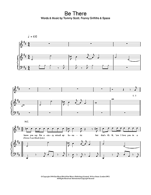 Space Be There sheet music notes and chords