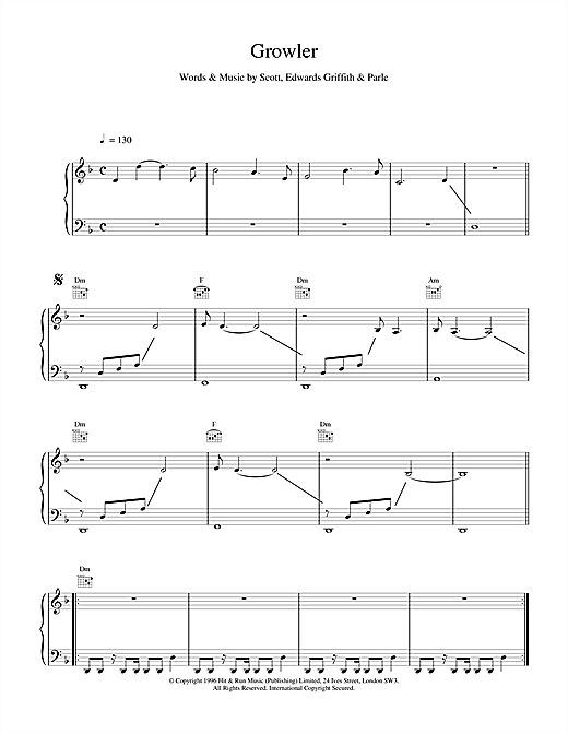 Space Growler sheet music notes and chords