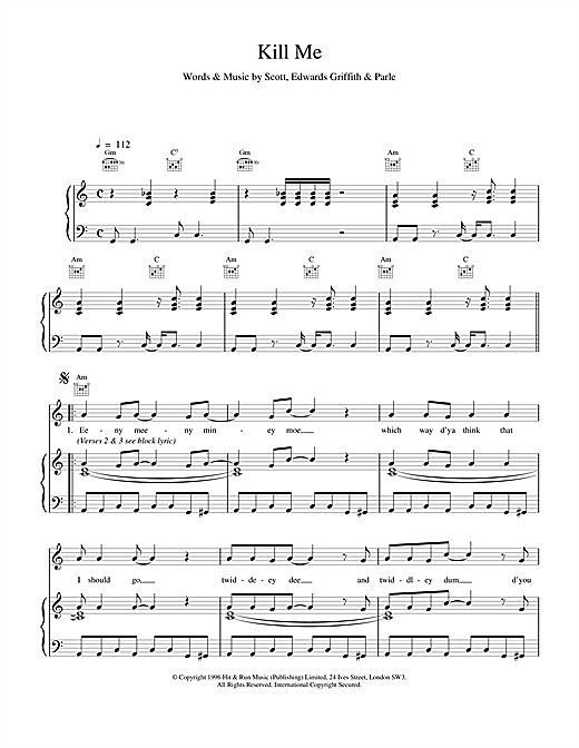 Space Kill Me sheet music notes and chords
