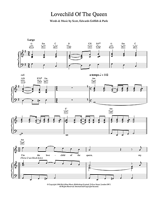Space Lovechild Of The Queen sheet music notes and chords