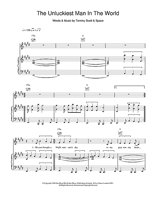 Space The Unluckiest Man In The World sheet music notes and chords
