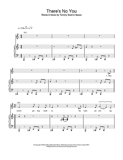 Space There's No You sheet music notes and chords