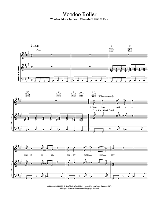 Space Voodoo Roller sheet music notes and chords