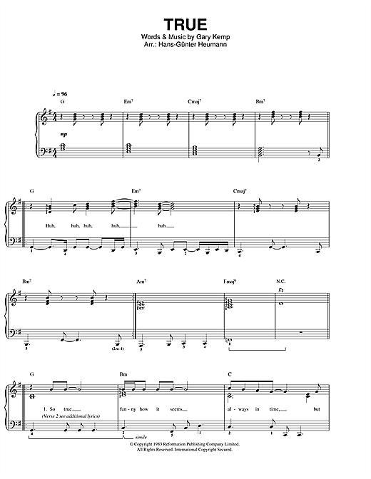Spandau Ballet True sheet music notes and chords. Download Printable PDF.