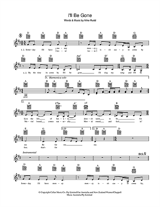 Spectrum I'll Be Gone sheet music notes and chords. Download Printable PDF.