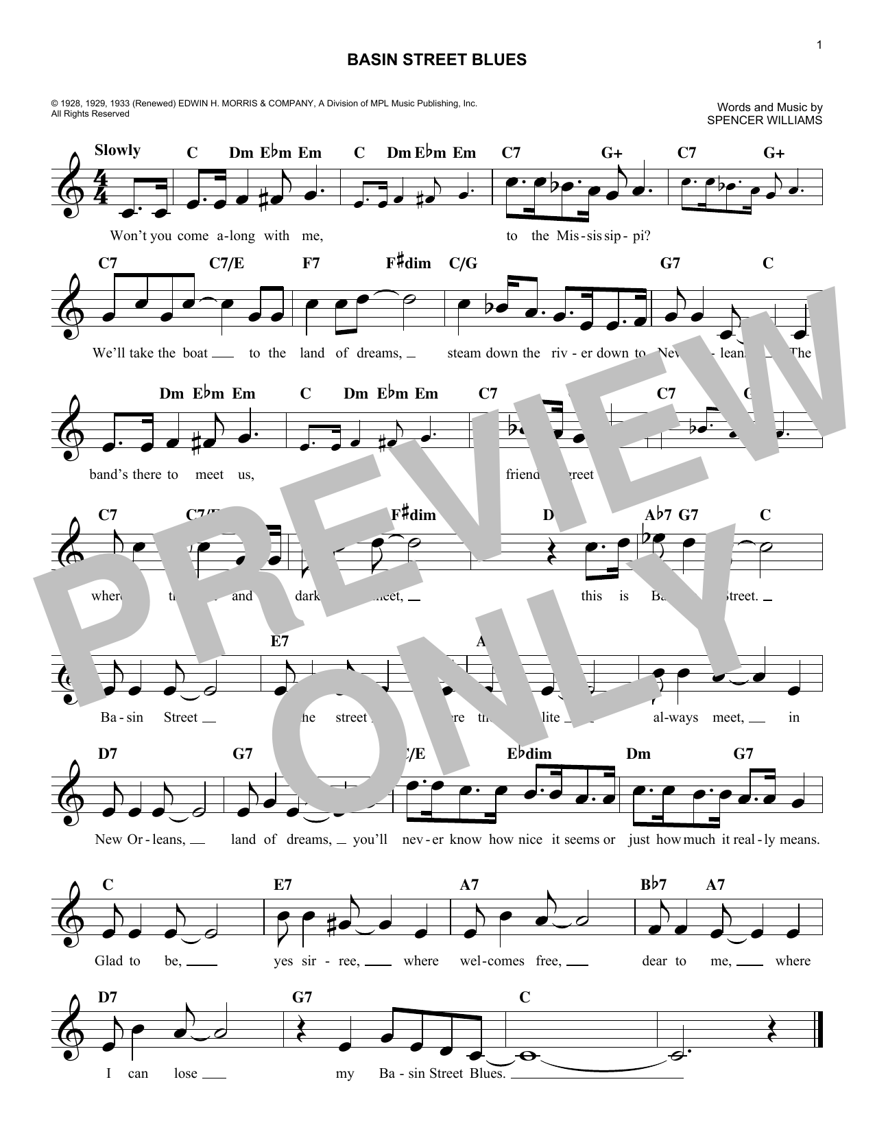 Spencer Williams Basin Street Blues sheet music notes and chords. Download Printable PDF.