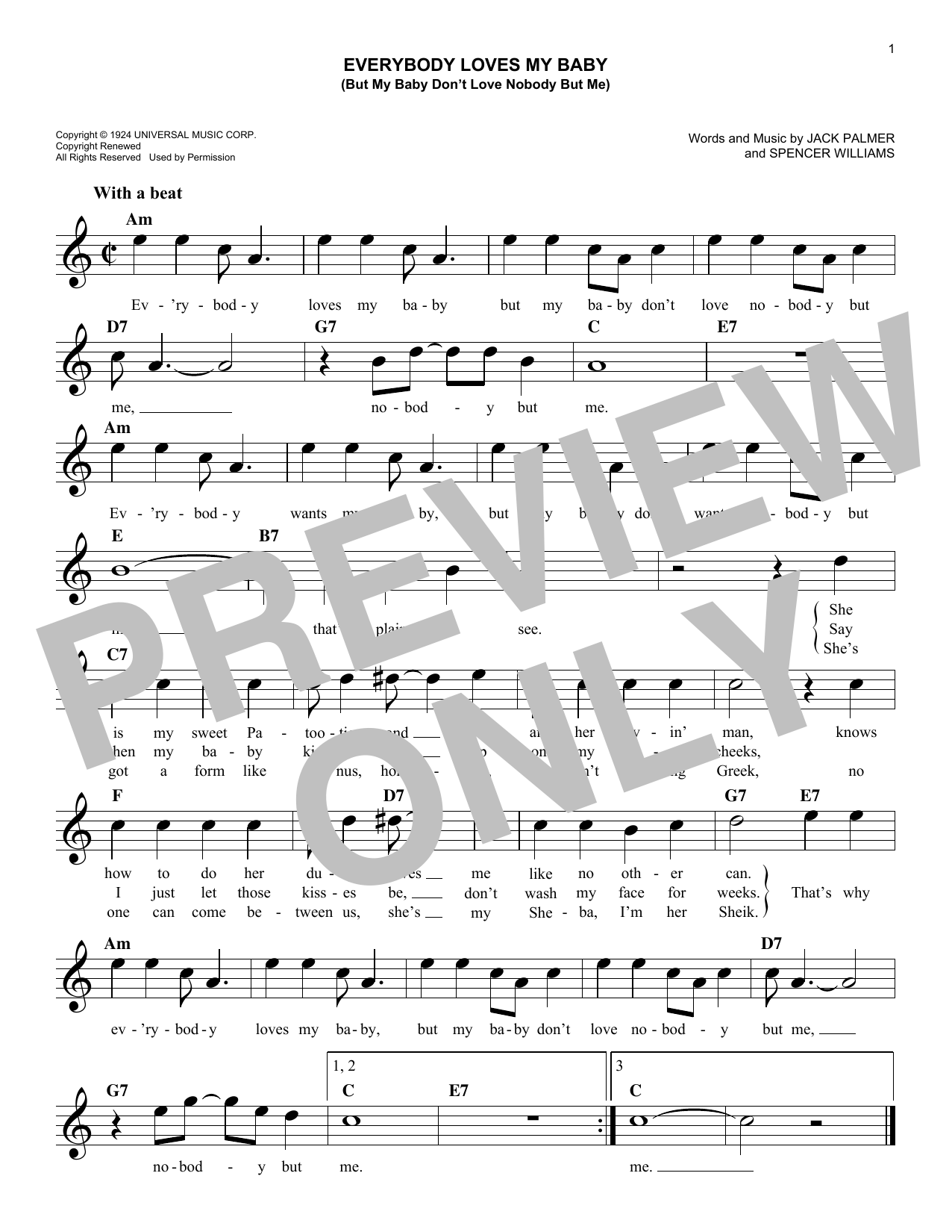 Spencer Williams Everybody Loves My Baby But My Baby Don T Love Nobody But Me Sheet Music Pdf Notes Chords Jazz Score Real Book Melody Lyrics Chords C Instruments You can also use the lyrics scroller to sing along with the music and adjust the speed by using the arrows. spencer williams everybody loves my baby but my baby don t love nobody but me sheet music notes chords download printable real book melody