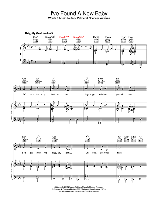 Spencer Williams I've Found A New Baby sheet music notes and chords. Download Printable PDF.