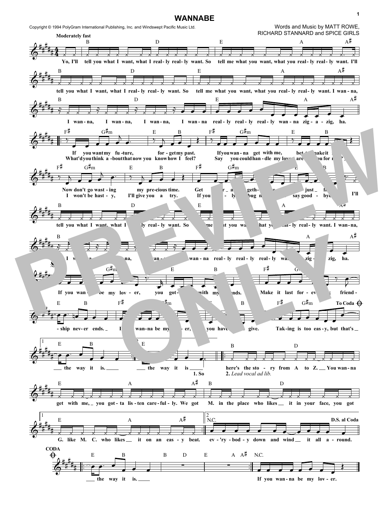 Spice Girls Wannabe sheet music notes and chords. Download Printable PDF.