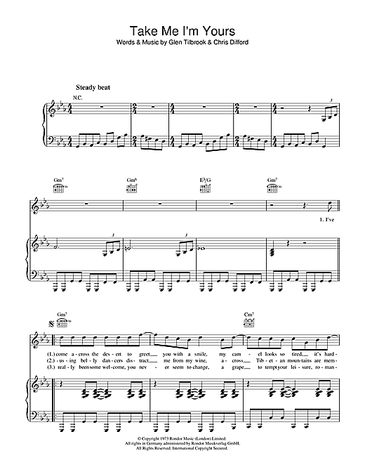 Squeeze Take Me I'm Yours sheet music notes and chords. Download Printable PDF.