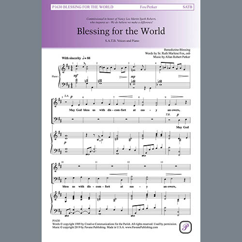 Easily Download Sr. Ruth Marlene Fox and Allan Robert Petker Printable PDF piano music notes, guitar tabs for SATB Choir. Transpose or transcribe this score in no time - Learn how to play song progression.