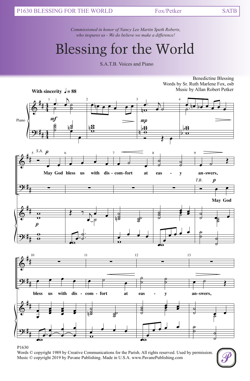 Sr. Ruth Marlene Fox and Allan Robert Petker Blessing For The World sheet music notes and chords. Download Printable PDF.
