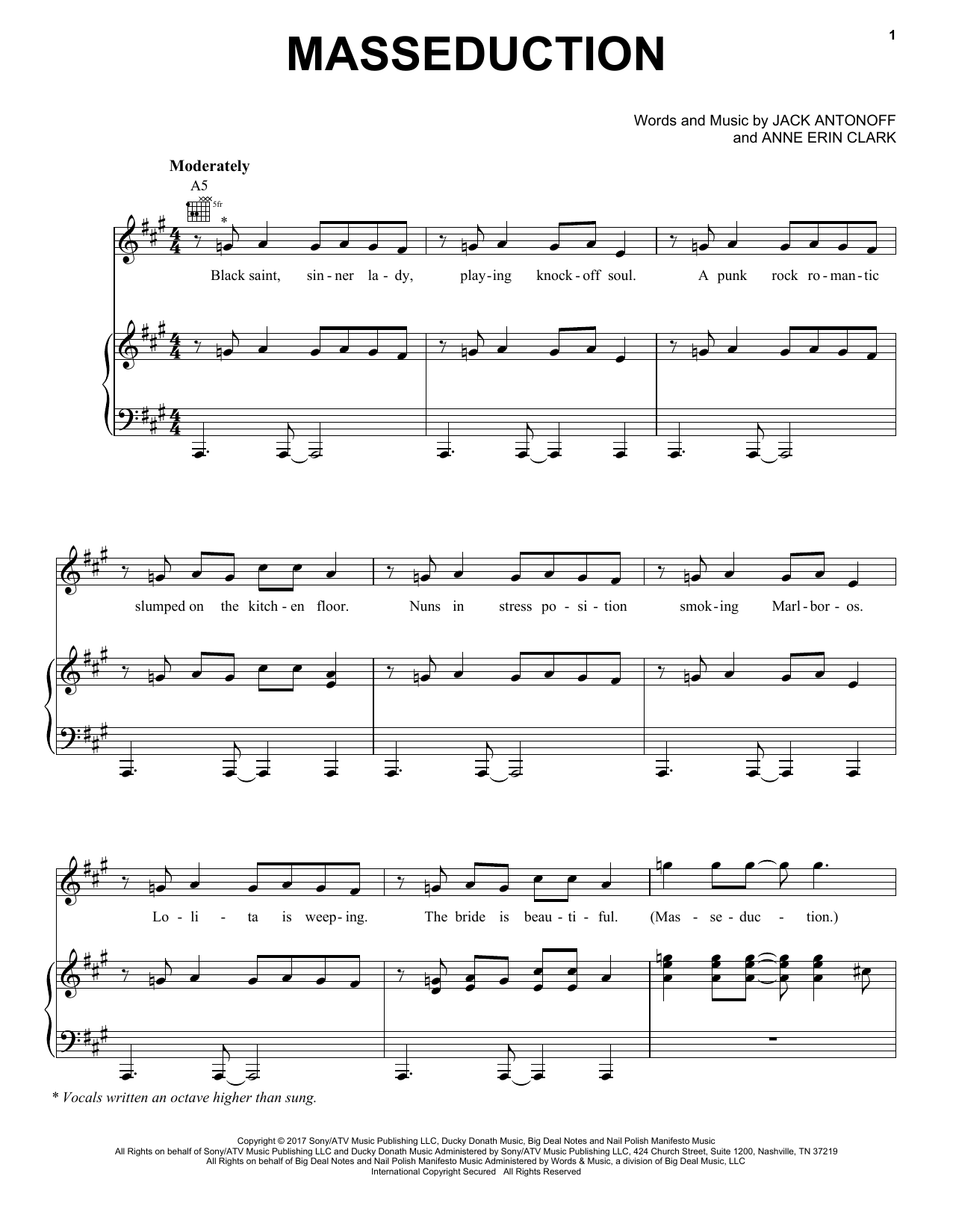 St. Vincent Masseduction sheet music notes and chords. Download Printable PDF.