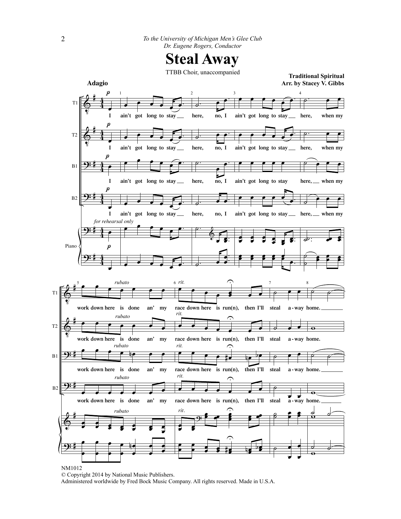 Stacey V. Gibbs Steal Away sheet music notes and chords. Download Printable PDF.