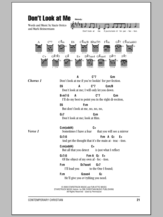 Stacie Orrico Don't Look At Me sheet music notes and chords. Download Printable PDF.