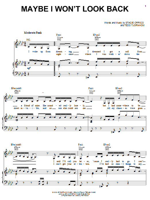 Stacie Orrico Maybe I Won't Look Back sheet music notes and chords. Download Printable PDF.
