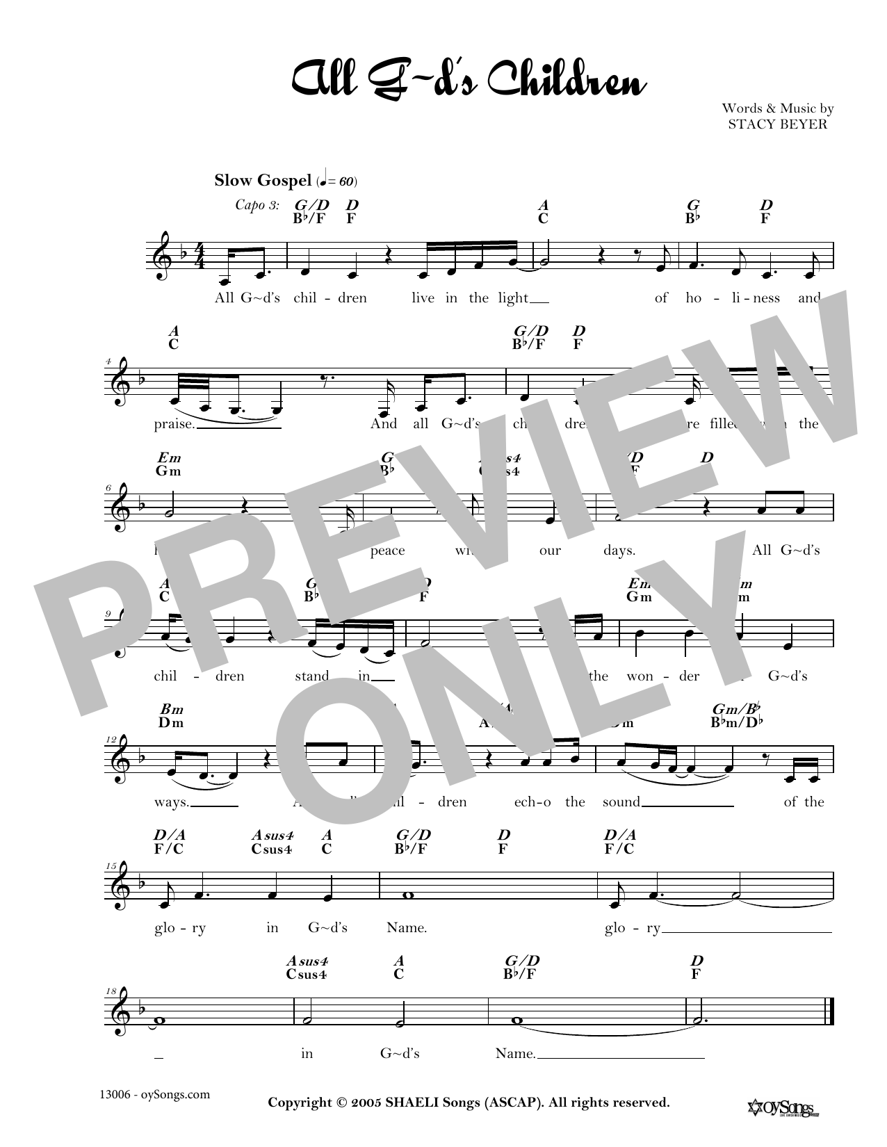 Stacy Beyer All God's Children sheet music notes and chords. Download Printable PDF.