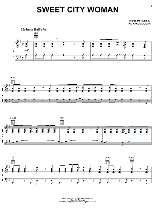 Stampeders Sweet City Woman sheet music notes and chords