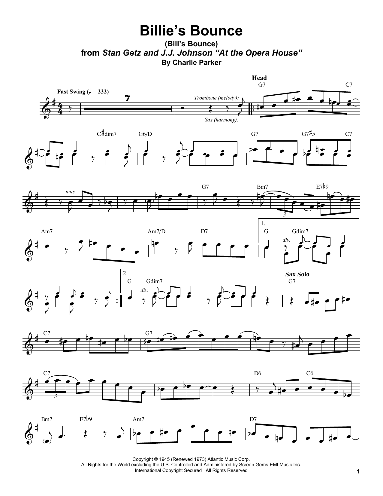 Stan Getz Billie's Bounce (Bill's Bounce) sheet music notes and chords