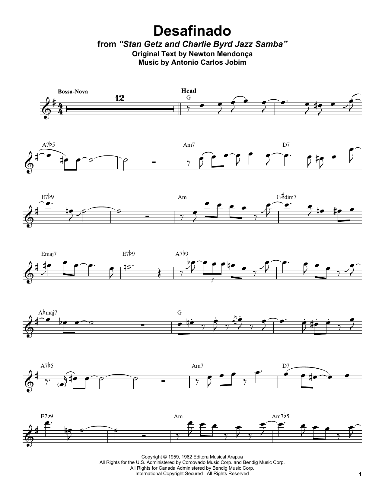 Stan Getz Desafinado sheet music notes and chords