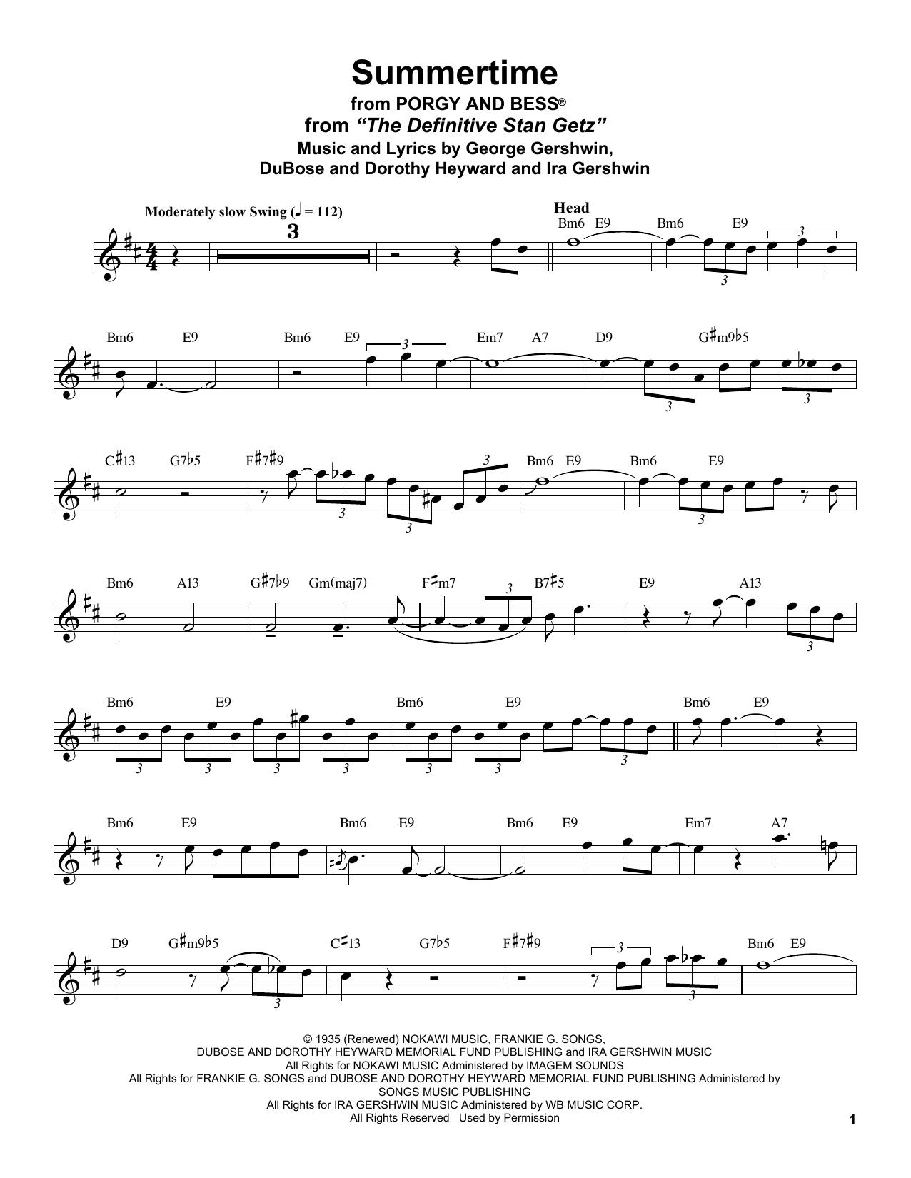 Stan Getz Summertime Sheet Music Notes, Chords   Download Printable Tenor  Sax Transcription PDF Score   SKU 15