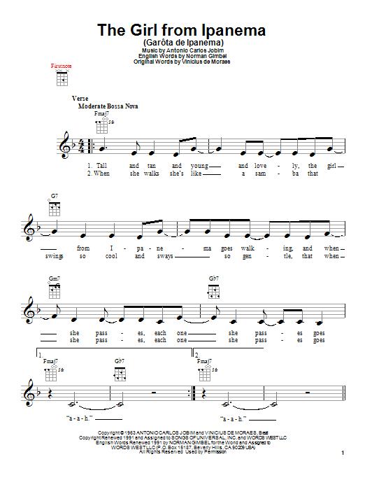 Stan Getz & Astrud Gilberto The Girl From Ipanema (Garôta De Ipanema) sheet music notes and chords. Download Printable PDF.