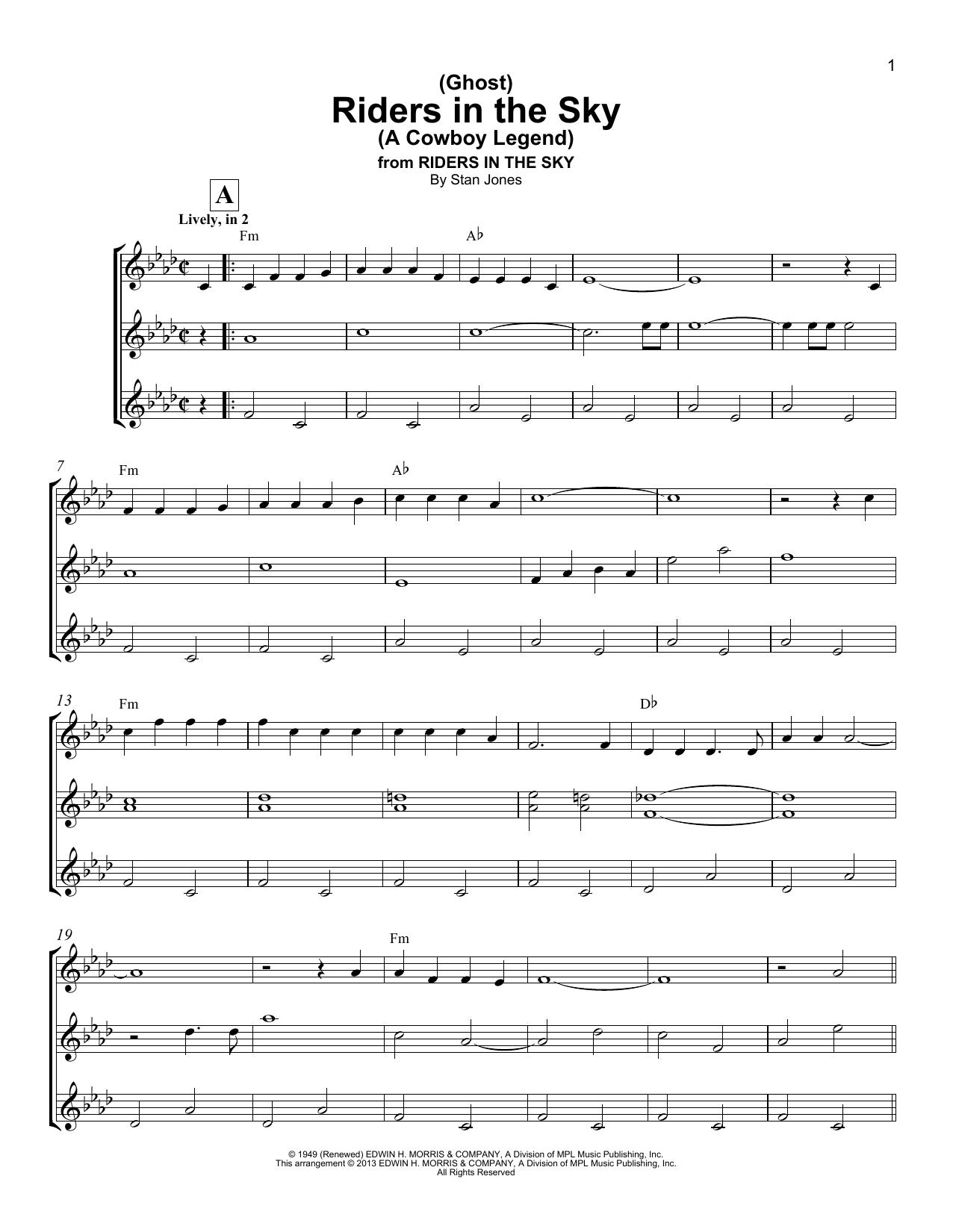 Stan Jones Ghost Riders In The Sky A Cowboy Legend Sheet Music Notes,  Chords   Download Printable Ukulele Ensemble PDF Score   SKU 15
