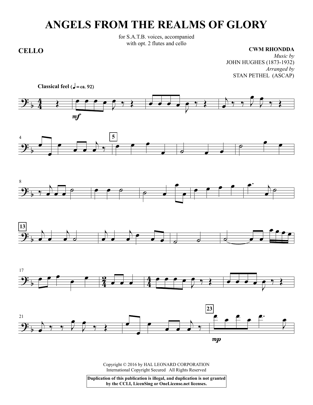 Stan Pethel Angels from the Realms of Glory - Cello sheet music notes and chords. Download Printable PDF.