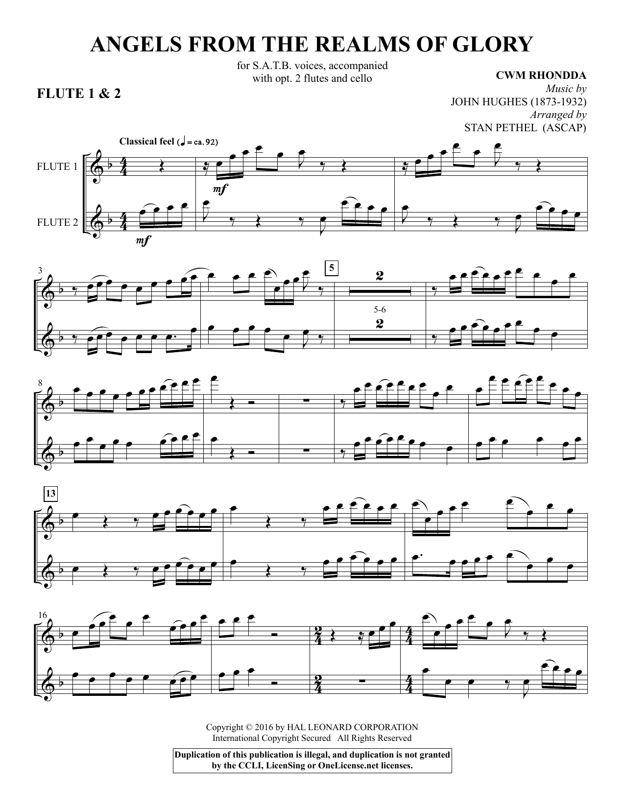 Stan Pethel Angels from the Realms of Glory - Flute 1 & 2 sheet music notes and chords. Download Printable PDF.