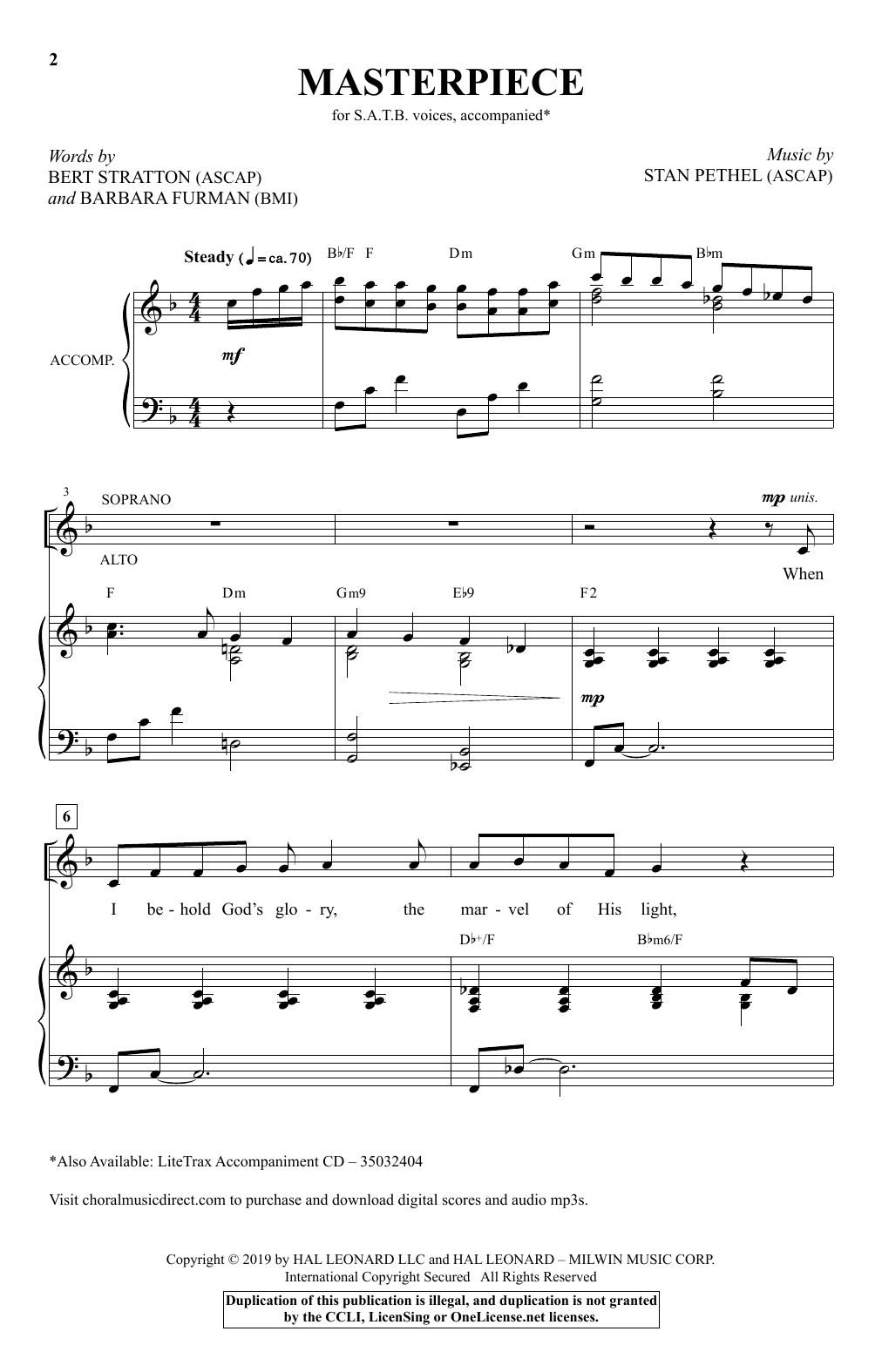 Stan Pethel Masterpiece sheet music notes and chords. Download Printable PDF.